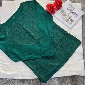 Loft outlet top blouse long sleeve size L green